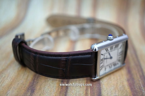 Cartier Dark Brown Crocodile Watch Strap On Butterfly Deployant Clasp