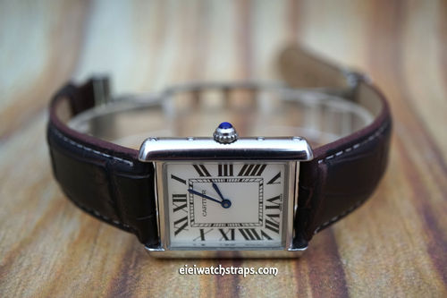 Cartier Dark Brown Crocodile Watch Strap On Butterfly Deployant Clasp White Stitched