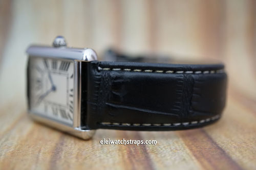 Cartier Black Crocodile Watch Strap White Stitched