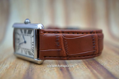 Cartier Brown Crocodile Watch Strap On Tang Clasp