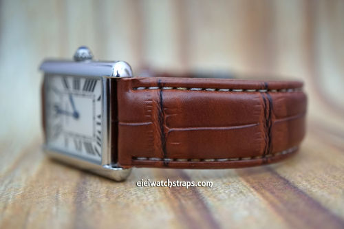 Cartier Brown Crocodile Watch Strap On Tang Clasp White Stitched