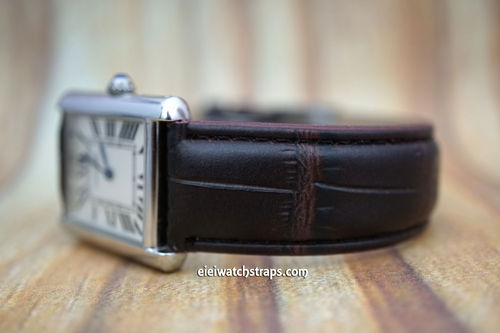 Cartier Dark Brown Crocodile Watch Strap On Tang Clasp