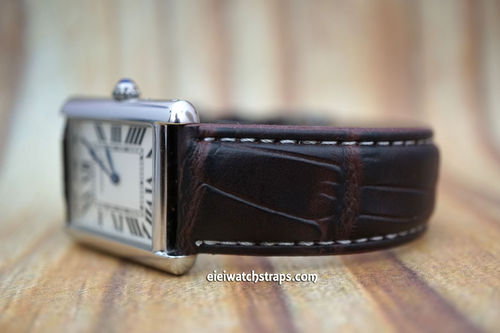 Cartier Dark Brown Crocodile Watch Strap On Tang Clasp White Stitched