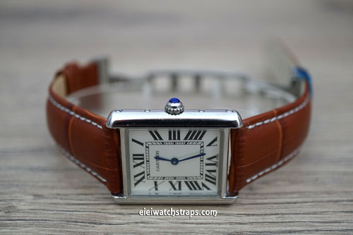 20mm Classic Brown Crocodile Leather Watch Strap