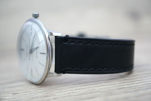 Junghans LIBERTY Hand Made Black Leather Watch Strap