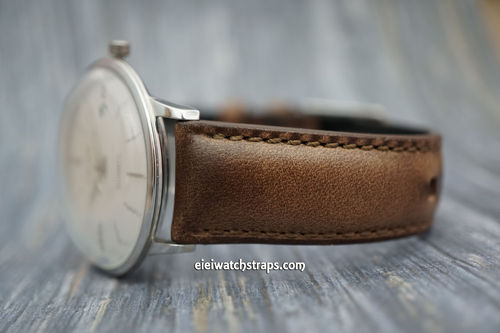 Junghans Handmade Padded Chromexcel Brown Horween Leather Watch Strap