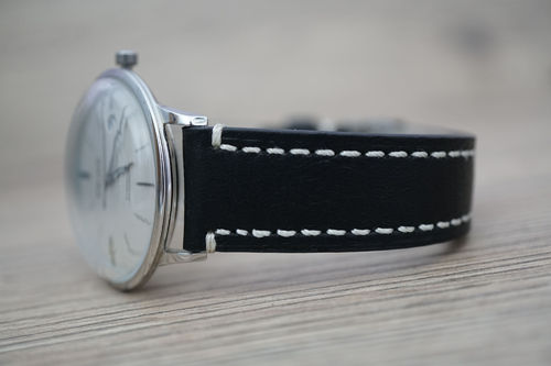 Junghans LIBERTY Hand Made Black Leather Watch Strap White Stitched