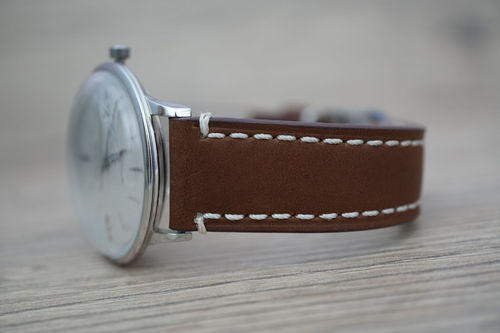 Junghans LIBERTY Hand Made Brown Leather Watch Strap White Stitched