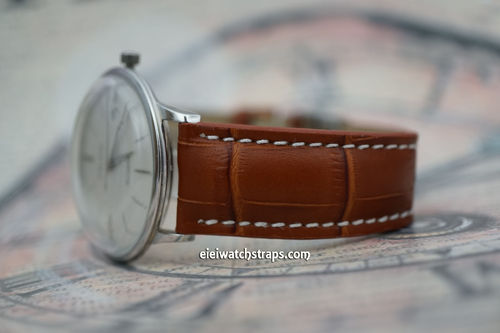 Junghans Matt Brown Alligator Grain Padded Leather Watch Strap Tang Clasp
