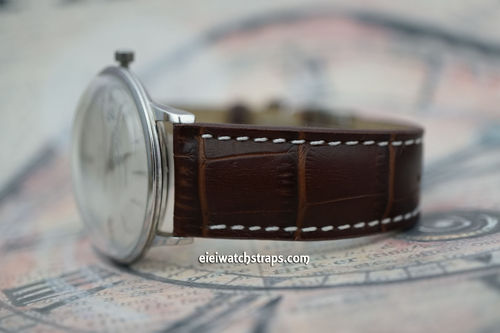Junghans Matt Dark Brown Alligator Grain Padded Leather Watch Strap Tang Clasp