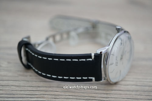 Junghans LIBERTY Hand Made Black Leather Watch Strap on Deployment Clasp