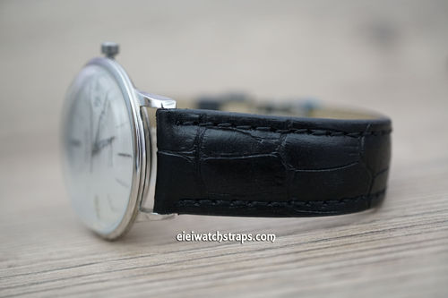 Junghans Classic Black Crocodile Grain Leather Watch Strap