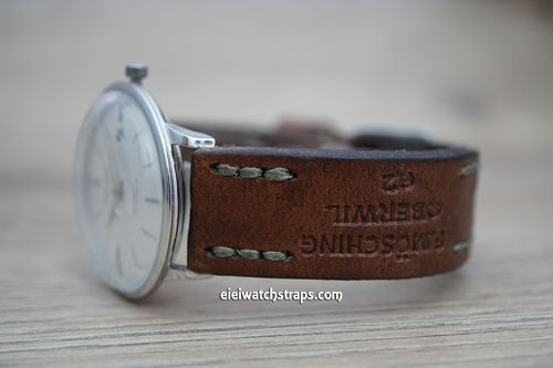 Junghans Brooklands Hand Made Vintage style Ammo Leather Watch Strap