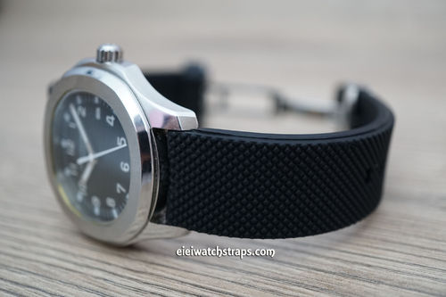 Patek Philippe Rubber Watch Strap Distinctive textured top surface on Stainless Steel Deployment
