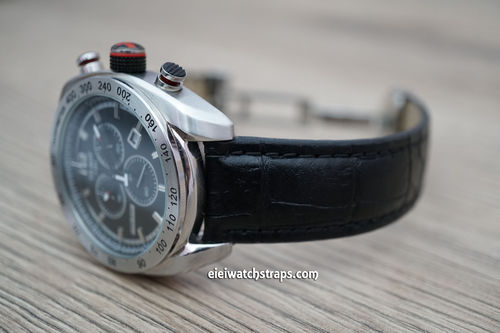 Tissot Classic Black Crocodile Grain Leather Watch Strap on Deployment Clasp
