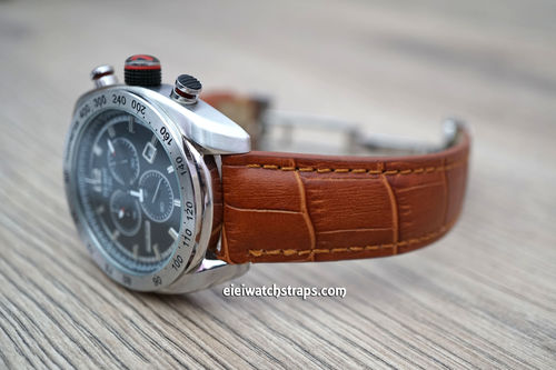 Tissot Classic Brown Crocodile Grain Leather Watch Strap on Deployment Clasp
