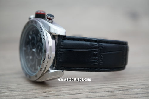 Tissot Black Crocodile Watch Strap On Butterfly Tang Clasp