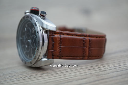 Tissot Brown Crocodile Watch Strap On Butterfly Tang Clasp