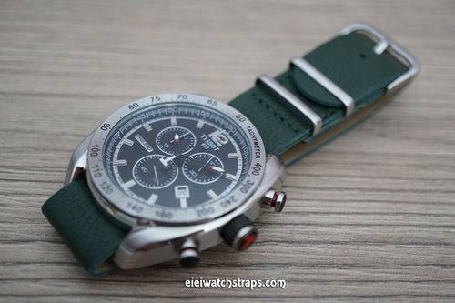 Tissot NATO Green Leather Watch Strap