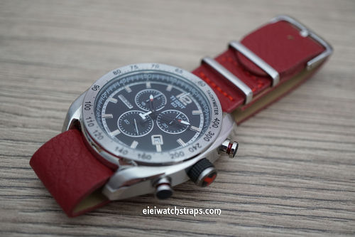 Tissot NATO Red Leather Watch Strap